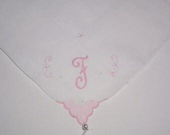 Vintage Hanky with Pink Initial F Hankie Handkerchief