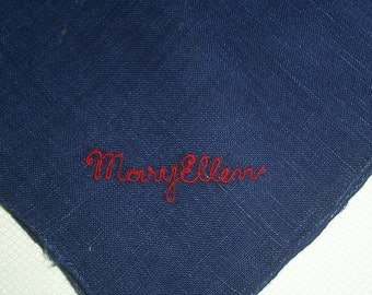 Vintage Navy Blue Hanky with a Red Mary Ellen in One Corner - Handkerchief Hankie