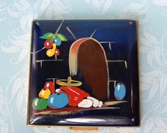 1940s Compact Large Lucite Hand Painted Vintage