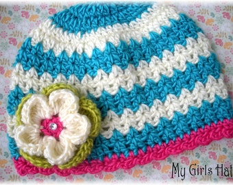 Razmatazz-Chevron Crochet Hat-Turquoise-Hot Pink-Lime Green-Ivory-Flower Clip-Colorful Hats-Girls Hat-Toddler Hat-Baby Hat-Fall/Winter Hat