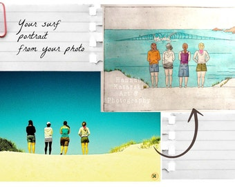 Custom Portrait Surf Art, Surfer or surfer girl portrait - Original artwork from your photo in watercolour & etching