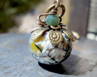 Organic Pumpkin necklace, lime green agate stone bead brass moss olive bronze rustic pomegranate persimmon persephone myth goddess fruit