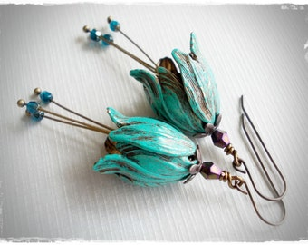 Long tulip earrings verdigris patina brass beaded bell hat flower dangle vintage style inspired romantic handmade for women whimsy whimsical