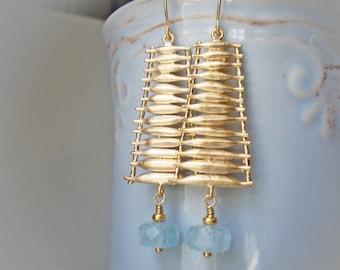 Aquamarine Ladder, modern organic earrings, extra long gold earrings, aqua blue stone and gold plated, unusual funky, earrings for women