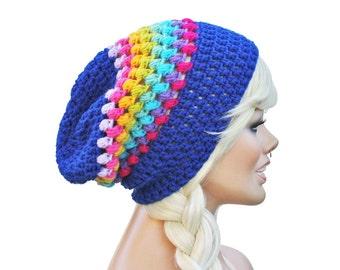 Rainbow Beanie - Crochet Slouch- Ultimate Slacker Striped Beanie Hat