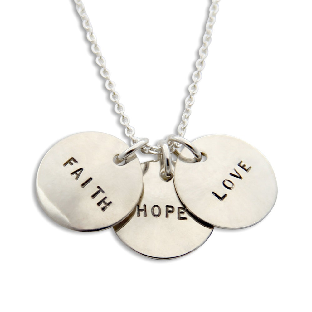 Faith hope love necklace three hand stamped silver pendants for Faith hope love jewelry
