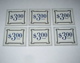 Vintage Set of 6 Dennison Store Pricing Tags with Blue Three Dollar Numbers