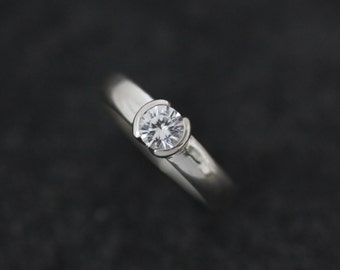 White Sapphire and Sterling Silver Half Bezel Set Engagement Ring, Low Profile  Half Moon Bezel