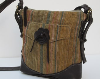 SMALL Leather and Fabric SHOULDER BAG
