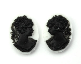 Plastic Cameos Lady Left & Right Facing 18x13mm White / Black (4) IC106