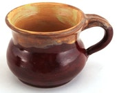 Stoneware Pottery Mug Wheel Thrown OOAK Yellow Peach Burgundy 8 oz Free Shipping in US