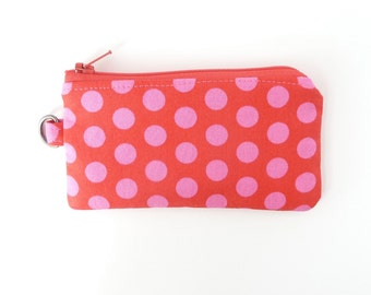 earbud lipstick inhaler case wristlet. pink red polka dot card case change purse. card holder. small zipper pouch gift idea. teacher gift