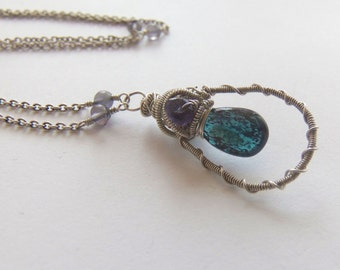 Last Chance -- 60 % OFF -- Wire Wrapped Pendant Necklace
