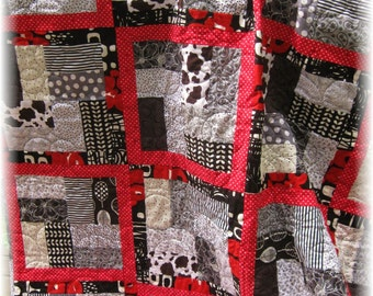 Red, Black, White / Abstract Patchwork Quilt / HANDMADE - Free US Shipping