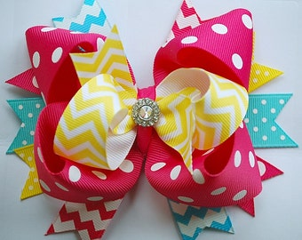 NEW glam over-the-top loopy layered shocking and hot PINK with turquoise and yellow hair bow clip