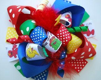 boutique FUNKY fun SESAME STREET friends hair bow clip
