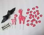 Pink Safari Baby Shower Fondant Cake Toppers - Complete Set Fondant Cake Decorations