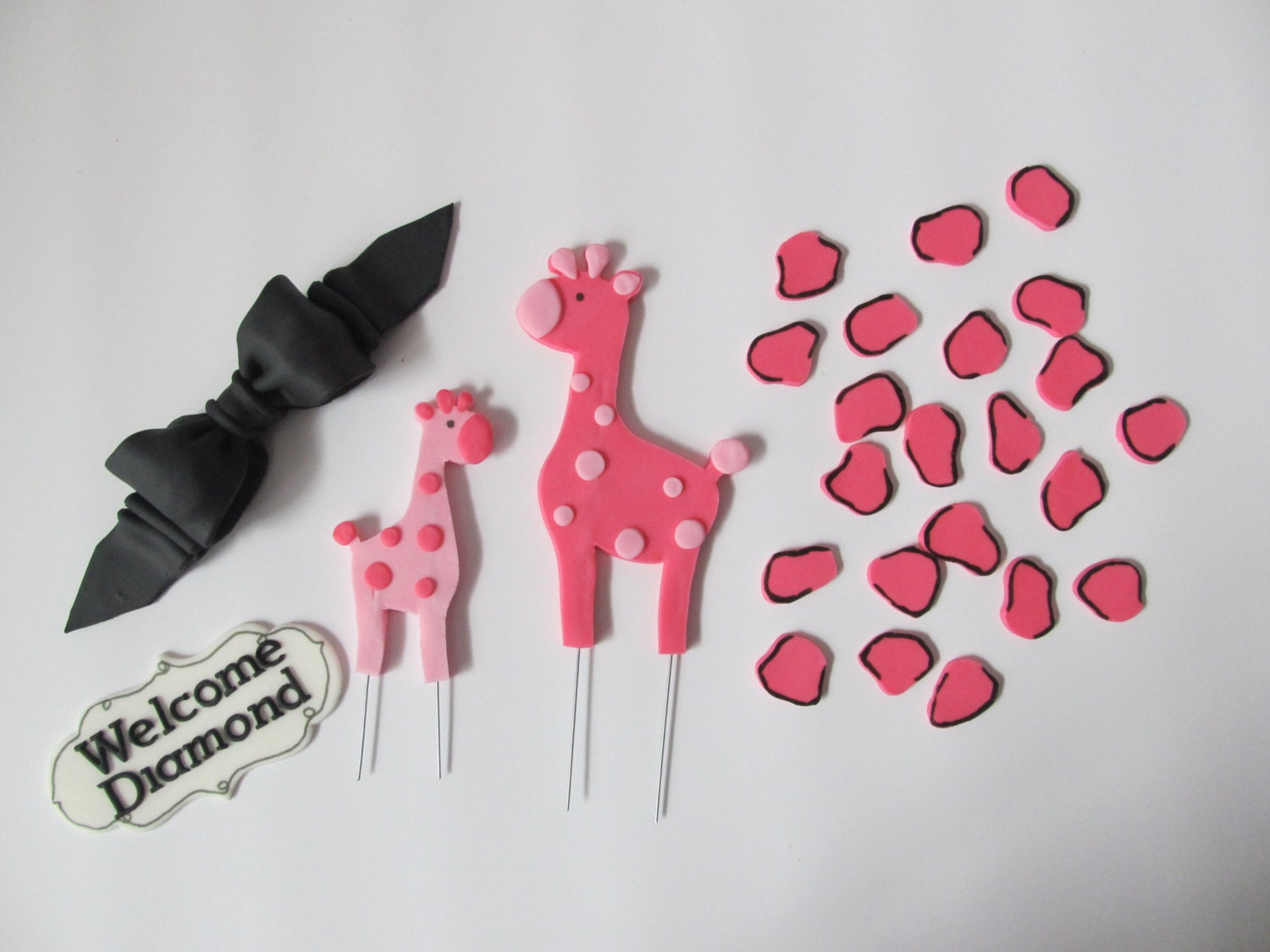 pink safari baby shower fondant cake toppers by 1stopparty