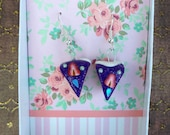 Purple Strawberry Cake Earrings Miniature Dollhouse Polymer Clay