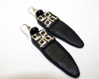 Polymer Black,  Beige Earrings