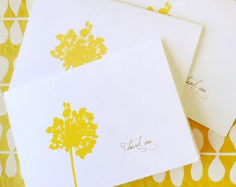 Dandelion thank you note cards, yellow, flower, DIGITAL FILE