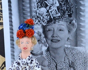 Hedda Hopper Doll Miniature Old Hollywood Gossip Columnist