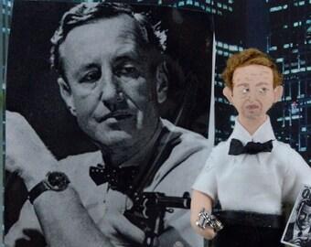 James Bond Author Ian Fleming Doll Miniature Art