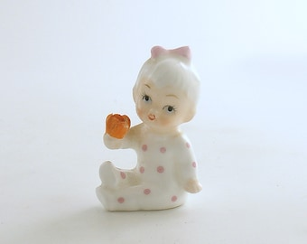 Vintage Baby Figurine Napcoware Pink Polka Dots Baby of the Month