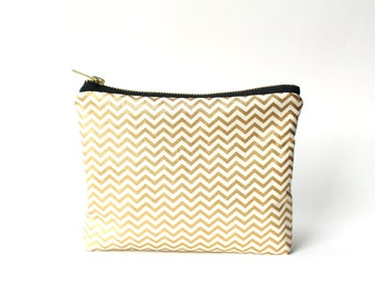 Gold Chevron Cosmetic Bag, Seen in Southern Living Magazine