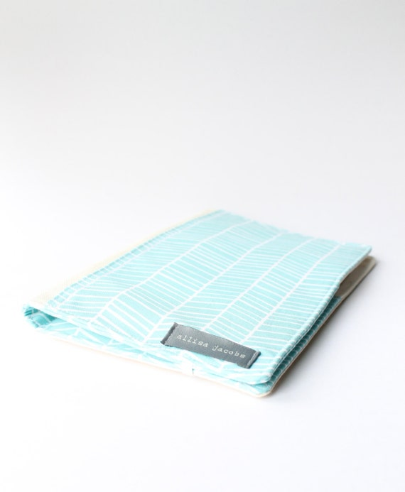 Portfolio Organizer, Aqua Chevron, Journal Cover, Notepad Folio