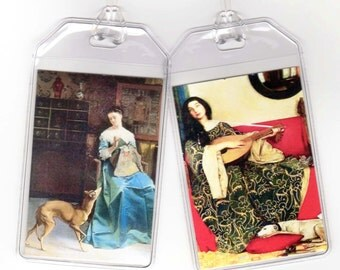 Set of 2 Greyhound Luggage Tags - Vintage Altered Art Ladies and Whippets