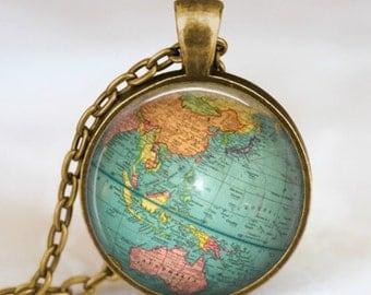 Globe jewelry, vintage globe pendant , globe art pendant , teacher gift, world travel adventurer  , world map globe jewelry