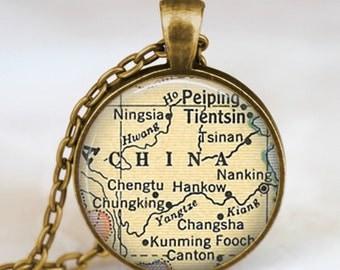 China vintage map necklace, China map pendant, China map jewelry , map pendant jewelry , vintage map art pendant, handmade pendant