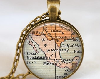 Mexico country map necklace,Mexico pendant, Mexico map jewelry with gift bag, mexico charm, glass pendant handmade gift, unique gift idea