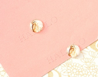 Sale - 10pcs handmade owl round clear glass dome cabochons 12mm (12-0042)