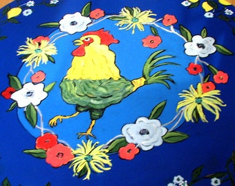 rug floorcloth art for the floor painted rug floor mat country cottage chicken  lemons large round CUSTOM order