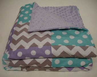 Chevrons and Dots in Lavender Aqua and Gray Minky Baby Blanket 25 x 38 READY TO SHIP