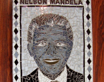 Nelson Mandela Mosaic Portrait in Stained Glass