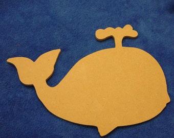 """Whale Unfinished Mdf Wood Mosaic Base or Craft Shape 1/2"""""""