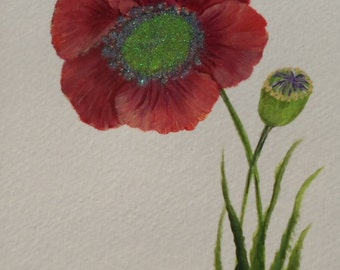 Painted Poppy Card Hand Painted Poppies Card