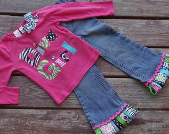 "Girls funky ""Diva Girl"" applique tee and ribbon fringe jeans size 6-12-18-24 mth 2T-3-4-5"