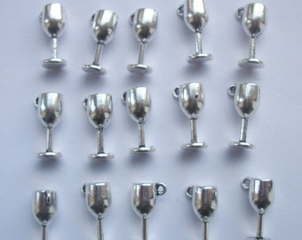 10 Goblets WIne Glass Silver Tone Metal Charms