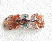 Copper/pink embellished  hair barrette, ponytail holder,  hair accessory,