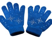 Girls Ice Skating Gloves /Magic Stretch Gloves with Clear Rhinestones Snow Flakes