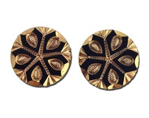 Black and Gold Snowflake Etched Czech Glass Cabochon 18mm (2) cab480K