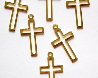 Vintage Gold Plated Cross Pendant Charm Drops (6) chr208A