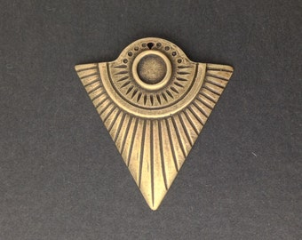 1 Hole Brass Ox Triangle Tribal Pendant with 6mm Setting (4) mtl367D