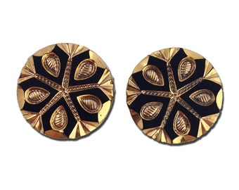 Black and Gold Snowflake Etched Czech Glass Cabochon 18mm (2) cab904A
