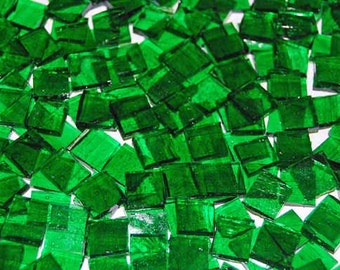 100 1/2 Inch Kelly Green Stained Glass Mosaic Tiles