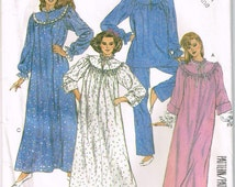 2110 McCall's Misses' pullover house robe has front zipper, nightgown and pajamas  sewing pattern size 14-16 bust 36-38 vintage 1980's uncut